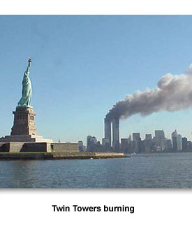 Going to War 02 Twin Towers burning