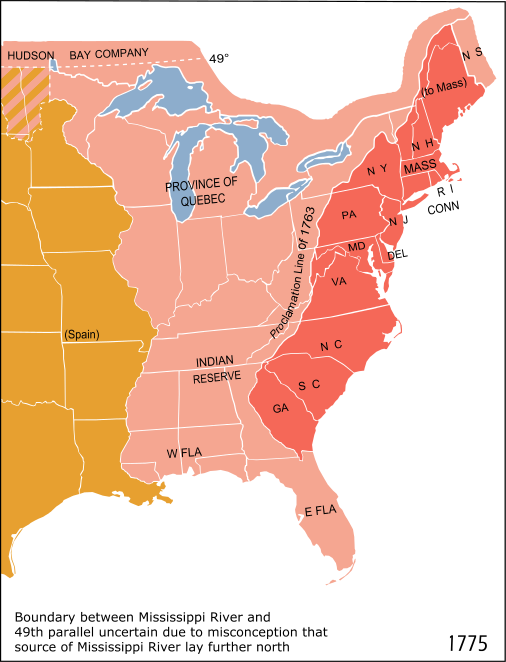 Boundary between Mississippi River and 49th parallel uncertain due to misconception that source of Mississippi River lay further north.